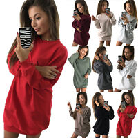 Women's Long Sleeve Crew Neck Mini Sweater Jumper Dress Loose Casual Sweatshirt