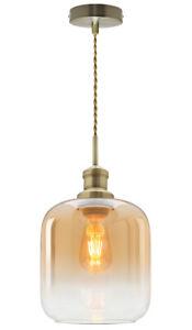 Vintage Retro Gold Glass Shade Pendant Ceiling Light Home Diner Chandelier M0203