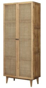 """86"""" T Mauro Cabinet Reclaimed Pine Cabinetry with Woven Rattan Doors"""