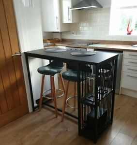 Industrial Bar Table Rustic Metal Dining Room Tall Breakfast Kitchen Storage