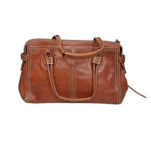Club Monaco Genuine Leather Camel Brown Satchel Bag