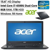 "Acer Aspire 15.6"" Laptop Intel Core i7-6500U 8GB RAM 1TB HDD DVDRW HDMI Webcam"