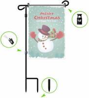 Wrought Iron Yard Garden Flag Stand Pole Black Post Outdoor Decor Holder Easy