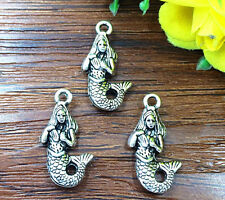 5pcs Mermaid Tibetan Silver Bead charms Pendants DIY jewelry 22x12mm