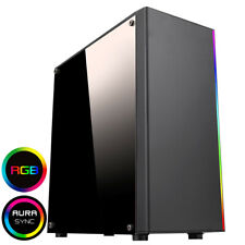 CIT RGB LED Midi ATX Gaming PC Computer Case USB 3.0 Clear Panel Spectum Strip