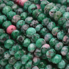 "Faceted abacus 2x4mm Red Green Ruby Zoisite Round Beads 15"" AAA"