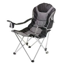 Picnic Time Reclining Camp Black and Grey Patio Chair