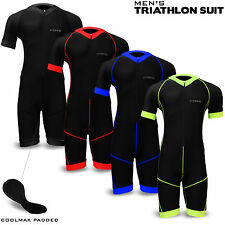 Mens Triathlon Suit Cycling Running Swimming Compression Tri Skinsuit Padded