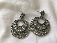 Intricate Metal Pewter Dangle Earrings Lovely Design! EUC!