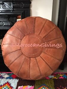 XXL Moroccan Hand Stitched 100% Leather Pouffe / Camel Brown / Only Cover .