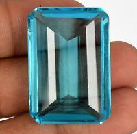 Brazilian Emerald Cut Swiss Blue Topaz 65.00 Ct Faceted Loose Gemstone BV-650