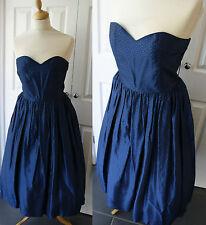 Vestido de Graduación 80s en 50s Vintage 10 tafetán de Noche acampanado Azul Marino Sin breteles Completo