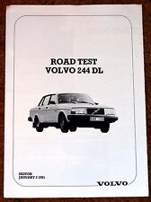 1981 VOLVO 244 DL Road Test Reprint UK Sales Brochure