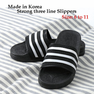 Home Outdoor Indoor Beach Wide Slipper Women Men Child Three Line Made in Korea