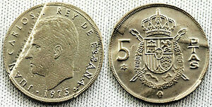 VARIANTE 5 PESETAS 1975*78 UNC/S/C ACUÑACION DEFECTUOSA 4,3 gr. RARA