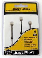 N Scale Double Lamp Post Street Lights Set 3pk (30mA) - Woodland Scenics #JP5640