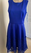 f8bd10ec59d Taylor Royal Blue Dress  Fitted Tip Flare At Bottom Wt Embroidered Lace -Sz  8