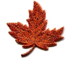 LEAVES-LEAF SMALL ORANGE IRON ON PATCH APPLIQUE