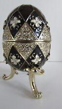 Design Toscano Table Dresser Jewelry Box Enameled Egg Harlequin Black
