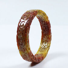 Jade Gems Bangle Bracelet a2496 62mm Chinese Hand-carved Brown Yellow Jadeite