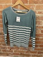 NEXT WOMENS AQUA WITH SILVER ROUND NECK STRIPPED KNIT TOP SIZE: 6 BNWT