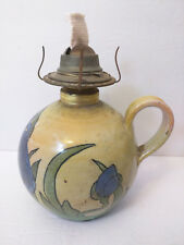 Vintage Ceramic Eagle Oil Lamp w/ Cloth Wick - Blue Iris Flower Pattern