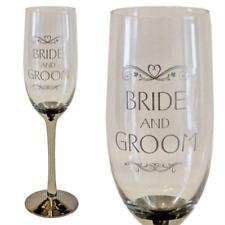 Wedding Gift - Champagne Flute - Silver Stem & Wording - Bride & Groom