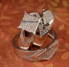 His And Hers 14K White Gold Finish 2.00ct D/VVS1 Halo Bridal Trio 3pc Set Rings