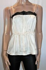 fleur wood Brand Cream Silk Black Lace Button Front Cami Top Size 1 BNWT #TK43