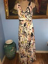 Badgley Mischka Soft Petal Print Maxi Dress-8-EUC