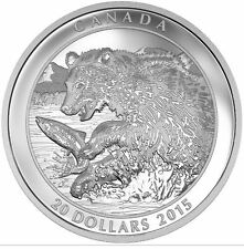 2015 $20 .9999% Fine Silver 1oz Coin - Grizzly Bear The Catch