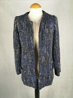 Ladies Jacket Size 10 Navy Blue Tweed Boucle Smart Casual Country Day