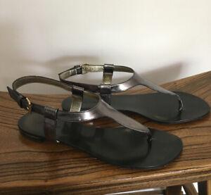 ROBERTO CAVALLI Metallic Pewter Grey T-bar Flat Sandals Size 37