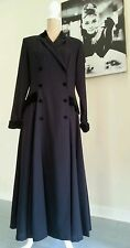 Laura Ashley long black vintage riding style dress coat with velvet collar