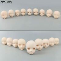 "9pcs/lot Soft Plastic Practice Makeup DIY Head For 11.5"" Doll Heads For 1/6 BJD"