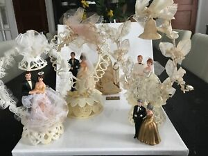 Group of Vintage  Bride and Groom Wedding Cake Toppers