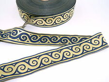 10yds Double Faced Jacquard Woven Ribbon/Trim Navy/Gold Swirl