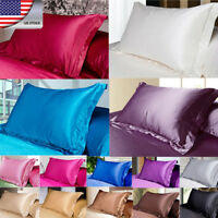 New Silk Satin Duvet Cover Silky Bedding Set Fitted Sheet Pillow Cases Cushion