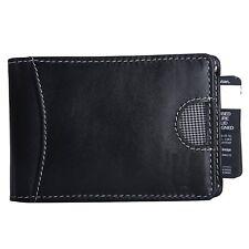 RFID Blocking Bifold Genuine Leather Minimalist Front Pocket Wallets for Men