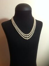 Vintage 1950's ivory pearl 3 strand necklace