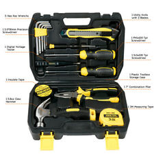 15pcs Household Repair Hand Tools Kit Mechanics Kit Box with Plastic Tool Box