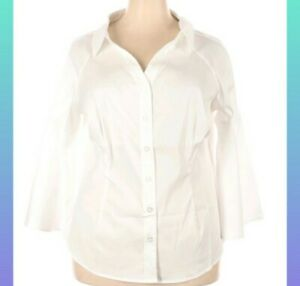 Laurie Felt White Solid Button-Down Blouse -Bell Sleeve - 1X