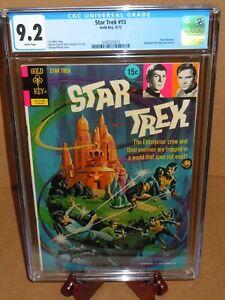 💎Star Trek #15 CGC 9.2 (NM-) White pages Gold Key Comics 1972 Kirk & Spock