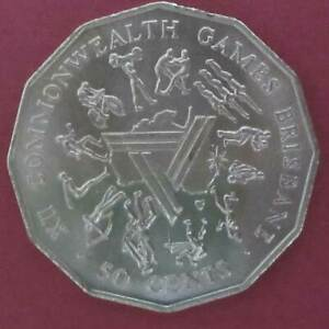 1982 Australia 50c Fifty Cents Commonwealth Games #191022-1 =HIGH GRADE= in 2x2
