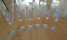 Set di sei dipinti a mano blu e argento GLITTER Libellula Champagne flauti