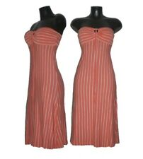 Bandeau Neckholder Jersey Kleid orange weiß 34/36 TOP!