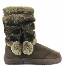 Ella womens ladies girls ankle flat faux fur lined boots warm winter sizes 3-9