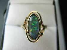 9ct Yellow Gold Stunning Blue Opal Doublet Ring Size O 1/2 Us 7.5 2.9g Mint