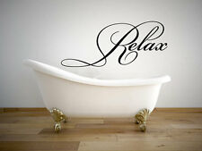 """Relax Bathroom Quote Vinyl Wall Decal #2 Graphics Home Decor 28""""x12"""""""