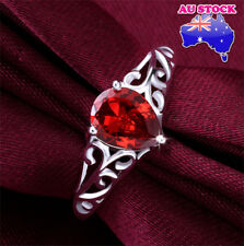 Wholesale 925 Sterling Silver Filled Red Tear Drop Crystal Band Ring Jewelry